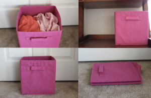 I use them to hold my scarves, socks, and pretty much everything. They also fold up for easy storage!